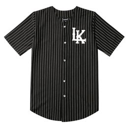 Tyga kleidung online-2019 heißer Verkauf Männer T-shirts Mode Streetwear Hip Hop Baseball Jersey Gestreiftes Hemd Männer Kleidung Tyga Last Kings Kleidung Schwarz