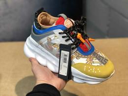 chaussures italie marques pour hommes Promotion 2019 New Versace men shoes Nouvelle chaîne Reaction Tribute Sneakers Italie marque de luxe femmes hommes Medusa Chaussures de course Designer Flats Medusa Chaussures 36-45