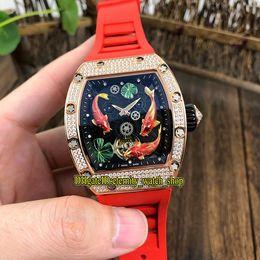 мужские часы 3d Скидка Топ-версия RM57-01 TOURBILLON 3D Koi Totem Dial Miyota Автомат 57-01 Мужские часы Розовое золото Бриллиант Корпус Красный резиновый ремешок Мужские часы
