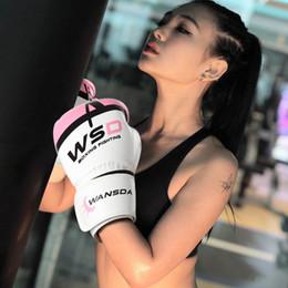 Luvas para crianças on-line-Luvas de boxe kicking 6 oz para mulheres dos homens pu caratê muay thai guantes de boxeo livre luta mma sanda treinamento adultos crianças equipamentos