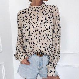 Damen Mode Winter Polka Dot Stehkragen Langarm Chiffon Bluse Shirt Top Oberteile