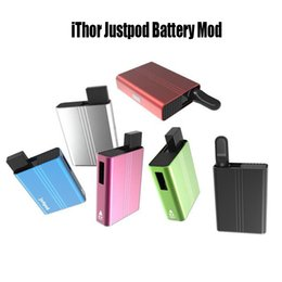 cigarette micro Coupons - iThor Justpod Battery Mod E Cigarette Battery With Micro USB Charger 400mAh VV Vape Mods 2 Connections Fit Thick Oil Cartridges Pod