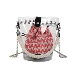 bolsos pequeños barril Rebajas 2019 Moda 2 unids Cubo Bolsos Pvc Transparente Transparente Cubo Bolsa Barril en forma de pequeño Mini Mango Bolsos de verano Bolsas de playa