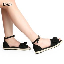 flat peep toe sandals Desconto Mulheres sandálias mujer xiniu 2019 cor sólida rebanho peep toe arco sandálias salto plana hasp zapatos de mujer