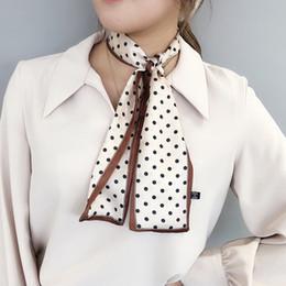 Aros bufanda online-Hoop retro impresión de punto de satén Tie muchachas de las mujeres de imitación de seda de la bufanda de cuello de la venda principal del pelo de la bufanda