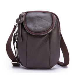 Men s Pockets Crazy Horse Leather Lychee Leather Multi-function Pockets  Diagonal Pants Pocket Bag 6086 a371d98b22a7c