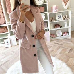 2019 vestidos de lã de trabalho de lã Mulheres lã Commute escritório Brasão elegante do vintage Tops casaco Casual feminina longo das senhoras da luva Collar Negócios misturas