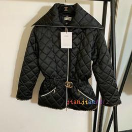 cintura elástica Desconto Xiaoxiang nova corrente de metal em forma de frisada diamante verificado elástico da cintura lapela cós longo algodão do revestimento mulheres20