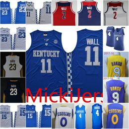 4 parede on-line-Mens NCAA Kentucky Wildcats John Wall Basketball Jersey costurado # 4 Rajon Rondo Anthony Davis # 15 DeMarcus Cousins ​​Kentucky Wildcats Jersey