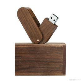 boîtier mémoire flash usb Promotion Nouvelle marque Bravo Rotation en bois massif haute vitesse USB 2.0 Clé USB Memory Stick 8 Go 16 Go 32 Go Clé USB avec Boîtier en bois e93