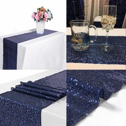 10pcs azul marino 12x72 pulgadas de lentejuelas mesa corredor de lentejuelas boda banquete banquete de cena, recepción, boda nupcial corredor, decoraciones de Navidad desde fabricantes