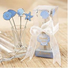 Tenedor, boda, conjuntos online-Acero inoxidable creativo Fruit Fork 4 UNIDS conjunto de dibujos animados de regalo de boda de estilo europeo azul mar pastel fruta tenedor herramientas de cocina QQA239
