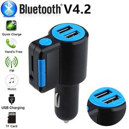 claro reproductor de mp3 Rebajas Bluetooth 4.2 Reproductor de MP3 Kit de manos libres para automóvil Transmisor FM compatible con tarjeta TF Disco U QC2.0 3.1A Adaptador de corriente de cargador USB dual rápido