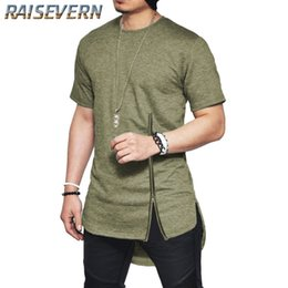 1e2538b0b RAISEVERN Men Side Zipper Longline Tshirt Swag Design Stylish Men Tee Shirt  Extended Hip Hop Funny Streetwear T-Shirt Tops discount funny tshirt designs