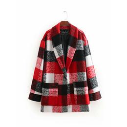 Winter Herbst Red Plaid Frauen Wollmantel Weibliche Mode Warme Langarm Jacke Für Büro Dame Arbeitskleidung abrigo mujer