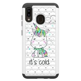 Caja del teléfono estilo diamante online-2019 caliente de dos-en-uno (pintado + diamante) caja del teléfono para Samsung Galaxy A20 A30 a prueba de golpes duros de PC + TPU del búho cubierta híbrida armadura