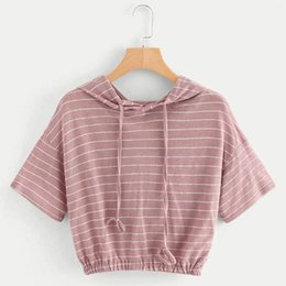 Camisetas de mujer Street Fashion Slim Summer Casual Stripe Hoodie Short Sleeve Crop Tops Shirt Femme Weekend Casual T-shirt Top desde fabricantes