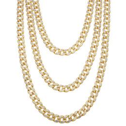Canada Collier de Hip-hop pour hommes avec chaînes de maillons cubiques à maillons cubiques en cristal strass Goldgen et Miami Gold cheap finished jewelry Offre