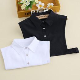 Camicia da donna in broccato di cotone coreano bianco e nero Camicia da donna con colletto finto Falso staccabile cheap black white korean shirt da camicia coreana bianca nera fornitori