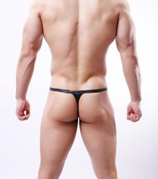 Gladiador sexy imitação de couro underwear monobutyl cintura preta pequena tanga T calças Sexy imitação de couro homem banda tangas natação de