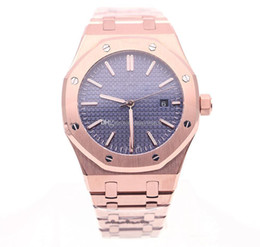 rose time Promo Codes - top quality Rose gold Blue Dial High Quality Royal Oak Men Luxury Automatic Mechanical Movement Stainless Steel men's Watches Free Shipping