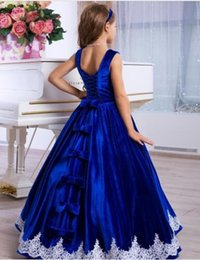 Figlia madre vestirsi online-2020 Classic Mother Daughter Dresses Lace Appliques Royal Blue Formal Event Dress Lace Up Back Beautiful Flower Girl Gowns