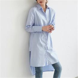 Vestidos de algodão branco xl on-line-Mulheres camisa vestido de manga comprida vestido longo solto assimétrica casual mulheres camisa vestido branco verão algodão plus size NZ19.9-77