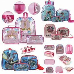 2019 borse scolastiche primarie primarie Kid Girls 3Pcs Set Zaino Unicorn Avengers Sofia LOL Ice Dog Car School Lunch Bag Matita Penna Zaino Bookbag Per Studenti Primari borse scolastiche primarie primarie economici