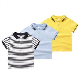 2019 ropa de uniforme Niños Ropa de Diseño Niños Rayas Polos de Verano para Niñas Manga Corta Tops Casuales Camisas de Uniforme Primario Moda Tanques Clásicos Camisetas Solidas B4842 ropa de uniforme baratos