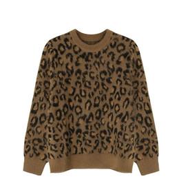 Feutre imprimé léopard en Ligne-Pull simple et élégant sentiment impression léopard col rond pull lâche pour les femmes automne et hiver 2018 nouveau style