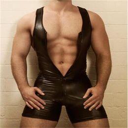 Argentina Sexy GAY Bondage Fetish Black Stretch PVC Look Latex Spandex mono de hombre M-3XL 937 Suministro