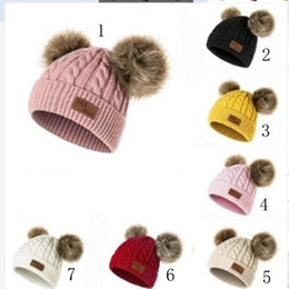 2019 fotos abiertas chicas Baby Knitted Hat Moda Invierno Warm Boys And Girls Pompom Fur Ball Sombreros Baby Warm Caps