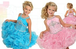 2019 micro meninas vestidos Princesa vestido de baile Ritzee meninas pageant vestidos 2019 colher decote cristais cupcake micro-lantejoulas ruffled little girl vestidos de festa