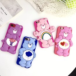 Funda de silicona arco iris online-Para iPhone 8 7 6 Funda 3D Cartoon Rainbow Bear Animals Funda protectora de silicona suave para iPhone X XS Max XR