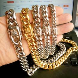 Ouro cheio pulseira link de corrente on-line-Homens De Ouro Cheias Cubano Cadeia Colar Pulseira Jóias Em Aço Inoxidável Alta Polido Curb Link Duplo Fecho De Segurança 5/8/10/12/14/16/18mm