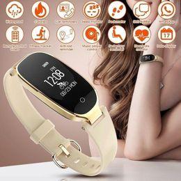 Bluetooth smart watch esportes pulseira mulheres pulseira com monitor de freqüência cardíaca rastreador de fitness pedômetro presentes do dia dos namorados de Fornecedores de silicone de qualidade