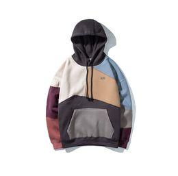 Hoodies outono e inverno emenda dos homens além de veludo moda casual neutro casaco solto fábrica por atacado de