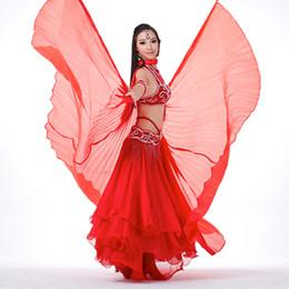 Bastone da danza del ventre online-Ali di danza del ventre Egitto Iside Donne di danza indiana Pancia Ali di seta artificiale Prestazioni teatrali Puntelli senza bastoni