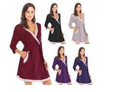 Nuove vendite di moda nel 2019 Modale tessuto Sleepwear Lady Primavera e autunno Housewear Senso femminile Stitching Sleepwear Commercio estero da pigiami di seta gialli fornitori
