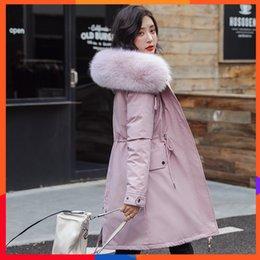 Forro de piel sintética abrigo de invierno online-Otoño Invierno Winter2019 mujeres de la chaqueta con capucha de la guarnición del conejo del Faux Abrigo largo Outwear Parkas grande de la piel Collarfashion campana de moda de las mujeres