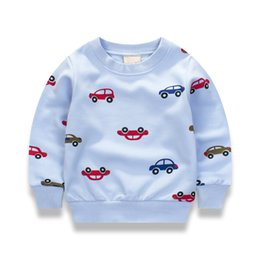 2019 carros de manga comprida Novos Carros de impressão Pullover Tee Outono 2017 Outono Inverno Crianças Camisola Tops T-shirt de Manga Longa Meninos Meninas Criança Bebê 12M2T3T4T6T carros de manga comprida barato