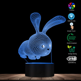 Wholesale Lapin Animaux D Acrylique Nuit Lampe Moderne Fille Nuit Lumière Lapin Lapin LED Table Éclairage Fille Room Decor Lapin Party Favors