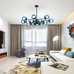 chinesische laterne licht anhänger Rabatt Nordic kreative persönlichkeit kronleuchter led wohnzimmer lampe schlafzimmer lampe restaurant runde glaskugel schmiedeeisen lampe (packung mit 2)