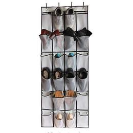 2019 organisateur de porte de poche Au-dessus de la porte organisateur de chaussure 24 poches de maille non tissé tissu net suspendu sac de stockage de chaussures WX9-1462 organisateur de porte de poche pas cher
