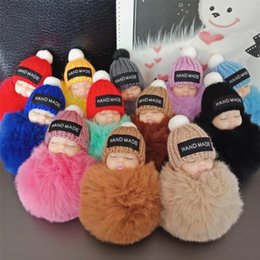 Carino dormire baby doll portachiavi coniglio palla di pelo moschettone portachiavi portachiavi donne bambini portachiavi borsa ciondolo portachiavi giocattoli per bambini EEA364 da