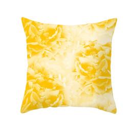 Almofadas amarelas on-line-Amarelo Poliéster Fronha Sofá Carro Cintura Lance Flor Capa de Almofada Casa Decorativa Travesseiros Capa