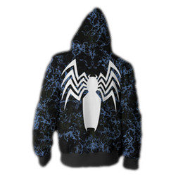 cosplay hoodies zipped Coupons - Foreign trade explosion MARVEL venom 3D printed zip cardigan hooded hoodie cosplay anime peripheral