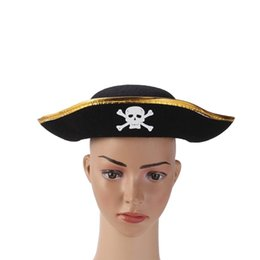 wholesale pirate skull caps Coupons - 1pc Halloween Skull Printed Felt Hat Pirate Triangular Cap Kids Dancing Party Performance Hat (Black+Golden)