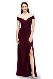 Lato oscillante online-Donne Sexy Off spalla Side Split Slim Dress Maxi Party Dress Cocktail Swing Wedding Bridesmaid Dress abiti da sera formale lungo