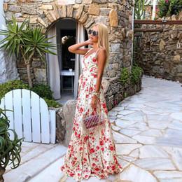 vestidos da menina do feriado do champanhe Desconto Floral maxi vestidos de festa rose pattern mulheres meninas casual dress decote em v sem encosto andar comprimento frock llf2095